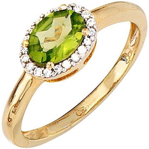 Anello da donna con olivina & 20 diamanti brillanti oro 585 oro giallo anello