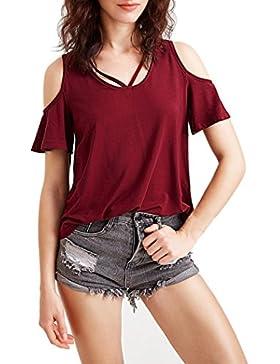 Winwintom La mujer casual de manga corta top corto verano off - hombro Blusa camiseta
