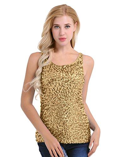 iiniim Damen/Mädchen Tank Tops Glitzer Pailletten Ärmellos Shirt Weste Tops Unterwäsche Unterhemd Mehrfarbig Gold Einheitsgröße