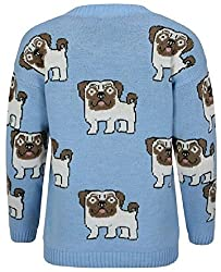 Online Fashion Store Sky Blue Multi Pug Dog Print Long Sleeve Crew Neck Knitted Sweater Jumper Top