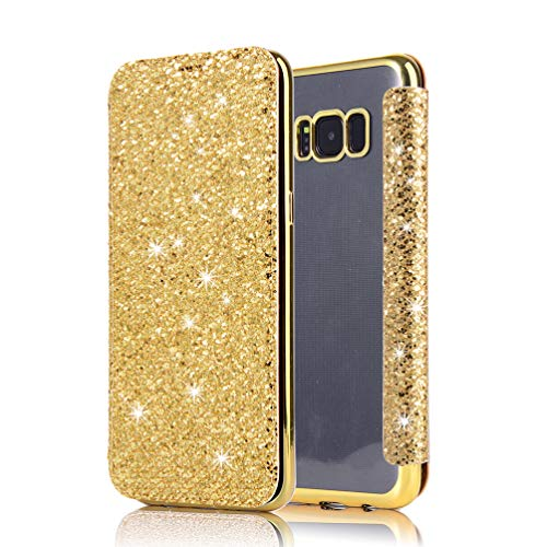 Coollee Coque Galaxy S8 Plus Paillette Bling Glitter PU Cuir Wallet Flip Cover avec Transparent Souple TPU Silicone Bumper Back Case Ultra Slim Fonction Stand et Porte Carte Antichoc Case Cover, D`or