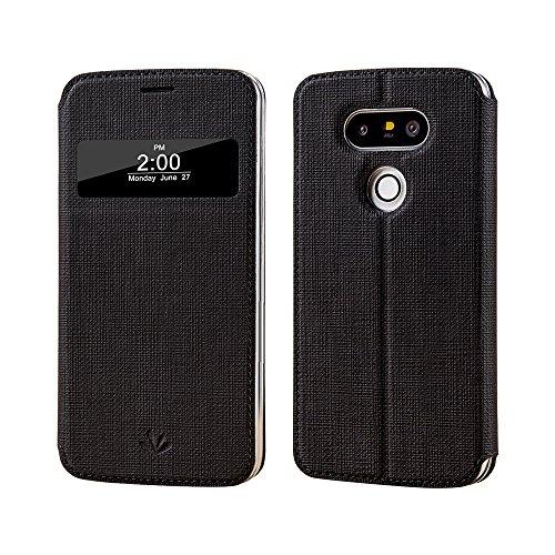 LG G5 Hülle für, Meiya Schutzhülle für LG G5, smart, hochwertiges PU-Leder, aufklappbar, mit Blickfenster, automatische An-/Ausschaltfunktion, modern schwarz
