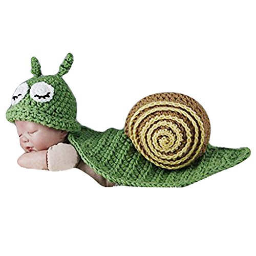 TININNA Déguisement Bébé Costume Animaux Bonnet Crochet 0-9 Mois Garçon/Fille Photographie Props Vêtement Escargot Vert
