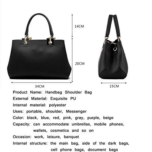 WU ZHI Damen Handtaschen PU Weiches Leder Großer Kapazitäts Schulter Messenger Bag Handtasche Blue