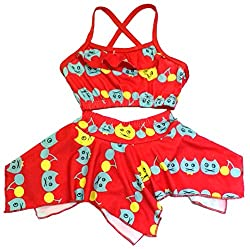 Kids Girls Swim 2 Piece Suit Red Cat Cartoon Print (Swimming Costume Swimwear)