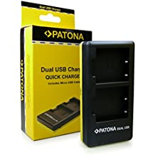 PATONA Dual Cargador NP-W126 con micro USB para Bateria Fuji FinePix X-Pro 1 | HS30 EXR | HS30EXR | HS-30EXR | HS33 EXR | HS33EXR | HS-33EXR