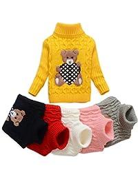 VIFUUR Enfants ours Pull à col roulé garçons filles pull en tricot pour Noël