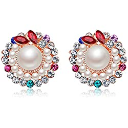 Jewels Galaxy Crystal Elements Sparkling Colors Flawless Pearl Designer Stunning 18K Rose Gold Stud Earrings For Women/Girls