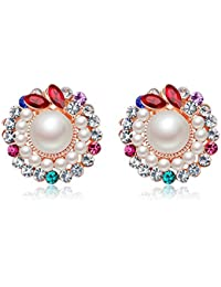 Jewels Galaxy Copper Clip-On Earrings for Women (Multi-Colour)(ERG-2423)