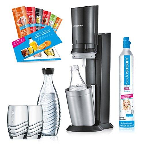 SodaStream Crystal 2.0 Promopack Glaskaraffen Wassersprudler Zum Sprudeln von Leitungswasser, inkl. 1 Zylinder, 2 Glaskaraffen 0,6l (spülmaschinenfest), 2 Trinkgläsern und 6 Sirupproben; Farbe: Titan - 6