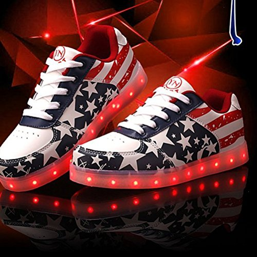 (Présents:petite serviette)JUNGLEST® Blink LED Chaussures lumineuse Unisexe Femme Homme Enfant Led Baskets Star 35-4 Rouge