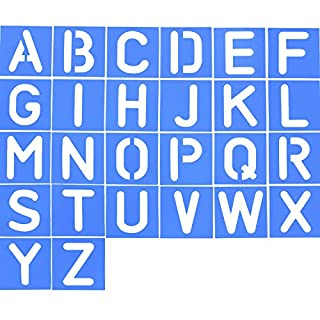 26 Pieces Plastic Letter Stencil Alphabet Stencils Set for Painting Learning DIY, Blue
