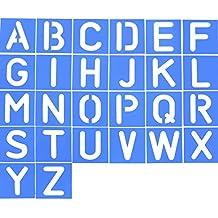 26 Piezas Plantilla de Letra de Plástico Plantilla de Alfabeto Set para Pintura Aprendizaje Bricolaje,