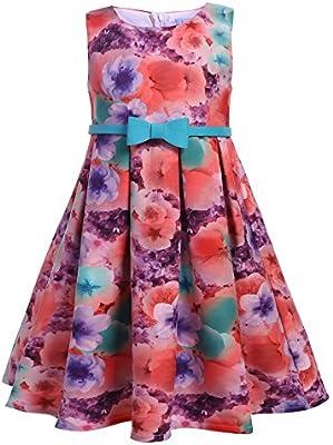 ARSHINER Vestido Niña Fiesta sin Mangas Flores Verano Formal Vestido de Princesa