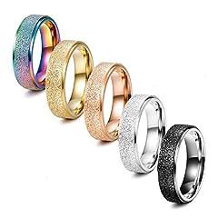 Idea Regalo - Finrezio 5 Pezzi in Acciaio Inossidabile 6mm Anelli per Donna Uomo 5 Colori Sandblast Finish Ring Set Amicizia Promessa di Gioielli
