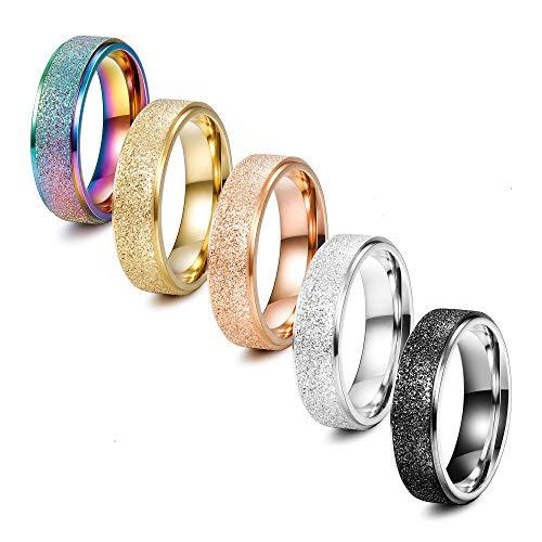 Finrezio 5 Stücke 6 MM Edelstahl Ringe Für Frauen Männer 5 Farben Sandstrahlen Finish Ring Set Freundschaft Versprechen Schmuck 70