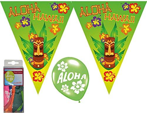 Deko Set Wimpelketten, Luftballons Aloha Hawaii Tiki 14 tlg. Wimpelkette/Girlande, Absperrband, (Aloha Set Kostüme)