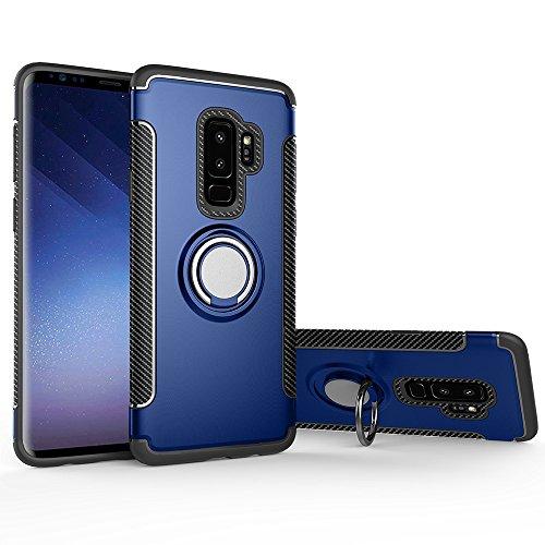 LAGUI Cover Samsung Galaxy S9 Plus, Custodia con Anello Supporto E Piastra Metallica, Robusto TPU/PC Cassa Ibrido Doppio Strato, Custodia per Cellulare Dedicata al Supporti Magnetici da Auto. Blu