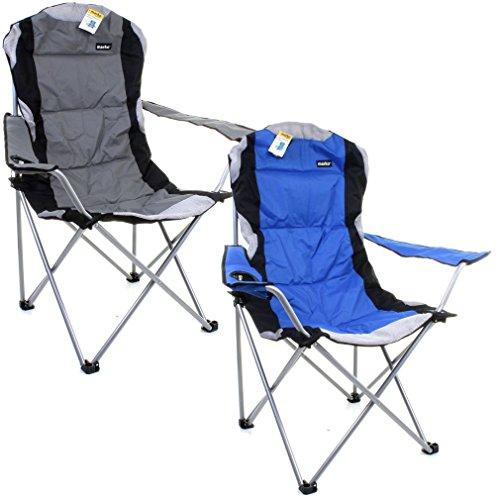 2-x-Schwerlast-Luxus-Camping-Stuhl-zusammenklappbare-Sthle-gepolstert-Directors-WCup-Halter-1-Blue-1-Grey