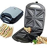 XXL 4er Sandwichmaker | Edelstahl Sandwichtoaster | Sandwichtoaster | Snack-Maker | Waffeleisen | Sandwich Toaster | Tischgrill | Kontaktgrill | Für 4 Sandwiches | 1.100 Watt | Anti-Haft-Beschichtung