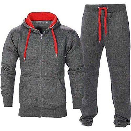 BE JEALOUS Herren Essentials Contrast Trainingsanzug Fleece Kapuzenpullis Jogginghose Jogginghose Gym Set - Dunkelgrau/Rot, M