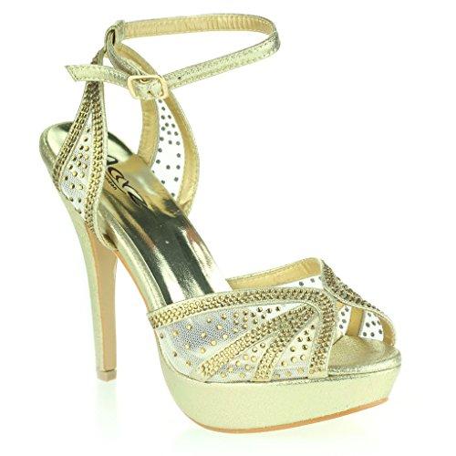 Femmes Dames Diamante Peeptoe Plateforme Sangle de Cheville Mince Talon Haut Soir Fête Mariage Bal de Promo De Mariée Stiletto Des Sandales Chaussures Taille Or