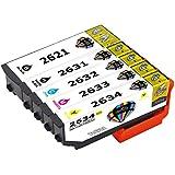 Pictech® kompatible Tintenpatronen Epson 26XL für Epson Expression Premium XP-510, XP-520, XP-600, XP-605, XP-610, XP-615, XP-620, XP-625, XP-700, XP-710, XP-720, XP-800, XP-820 Drucker (1x Schwarz groß, 1x Foto Schwarz, 1x Cyan, 1x Magenta, 1x Gelb (1 Set)