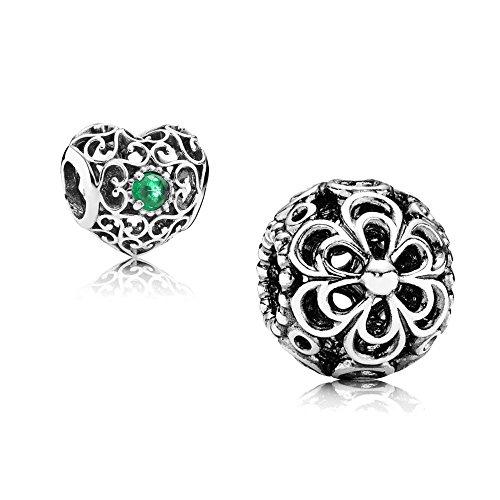[A] Original Pandora Geschenkset - 1 Silber Charm 790965 Apfelblüte + 1 Silber Charm 791784NRG Mai-Herz