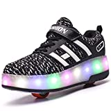 Unisexe Kids Scooter LED Chaussures Light up Double Roues Skateboard Sneakers en Plein Air Sport Entraînement Roller Skate Chaussures pour Garçons Filles (35 EU, Noir 8083)