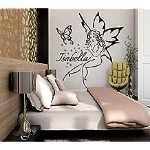 Nombre adhesivos vinilo adhesivo para Star, diseño de hadas de pared para niña Nursery Art Decoración de Dormitorio murales (mn887), vinilo, 54cmTall x 48cmWide