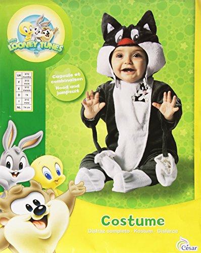 Joker d881-001 baby looney tunes gatto silvestro costume di carnevale, in busta, nero e bianco