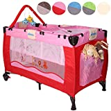 KIDUKU® Baby bed travel cot crib portable child bed folding bed bedside cot playpen, second level for infants/babies, 6 different colours, height-adjustable (Pink)