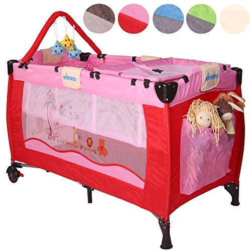 KIDUKU Kinderreisebett Kinderbett Säuglingsbett Babybett Klappbett Reisebett für Kinder Zweitbett, mit zweiter Ebene für...