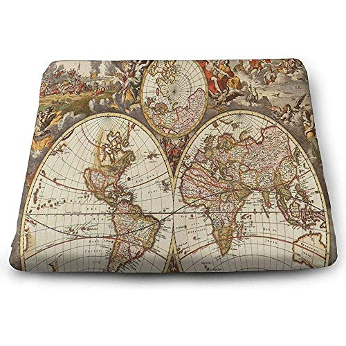 Vintage Patio Stühle (Dy-Home Square Seat Cushions Vintage Map Wallpapers - Wallpaper Cave Premium Comfort Kitchen Chairs Pad for Patio)