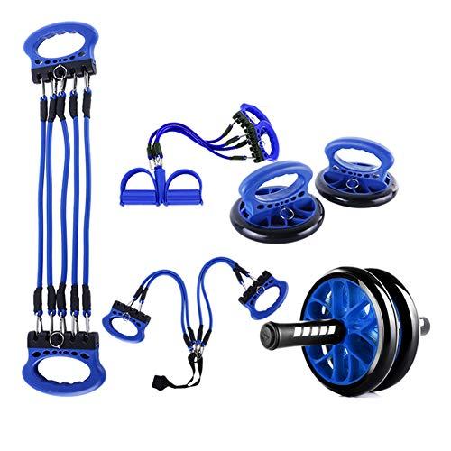 5-in-1-Ab-Wheel-Roller-Kit, tragbarer Abdominal-Core-Carver, Push-up-Lenker, Springseil und Knieschoner, rutschfeste Griffe für das Training zu Hause