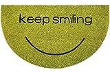 matches21 Fußmatte Fußabstreifer Kokos Keep Smiling halbrund in grün 45x75 cm Rutschfest Kokosmatte