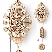 Wood Trick Pendulum Wall Clock Kit - No Batteries - Wooden DIY Wall Clock Big - 3D Wooden Puzzle, Brain Teaser for Adults and Kids - 3D Wall Clock Mechanical Model