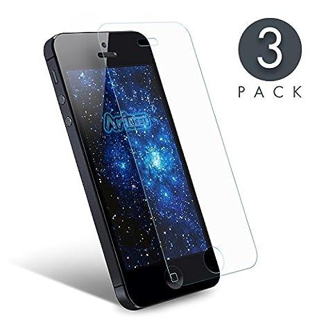 iPhone SE Panzerglas Schutzfolie [3 Stück],Aribest Ultra-klar Panzerglas Schutzfolie für iPhone 5 5S 5C SE 4 Zoll 3D Touch Kompatibel (0.25mm HD Ultra Clear)