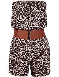 Womens Animal Leopard Print Ladies Bandeau Frill Boob Tube Elasticated Waist Belted Pocket Playsuit Jumpsuit