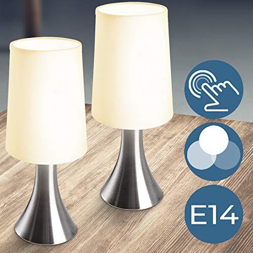 Lámparas de Mesa Táctiles 3 Intensidades de Luz | Juego de 1 o de 2 piezas, E14 | Lámparas de Noche, Lámpara de Escritorio, Lámpara de Mesa Diseñada, Lámpara de Trabajo, de Lectura, de Estudio, de Oficina (2 Piezas)