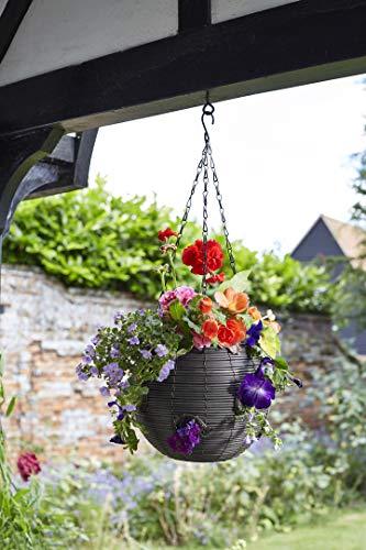 pille gartenwelt Blumenampel außen Rattan Blumenampeln Kugelförmig (Kugelform 23cm Kunstrattan grau)