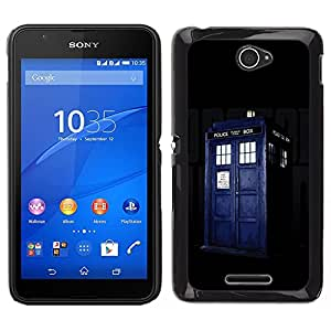 Sony Xperia E4 Einzigartige Muster Hartplastik Handy-Schutzhülle Schale Hülle Case Cover - Police Box Retro Blue Jail Cell