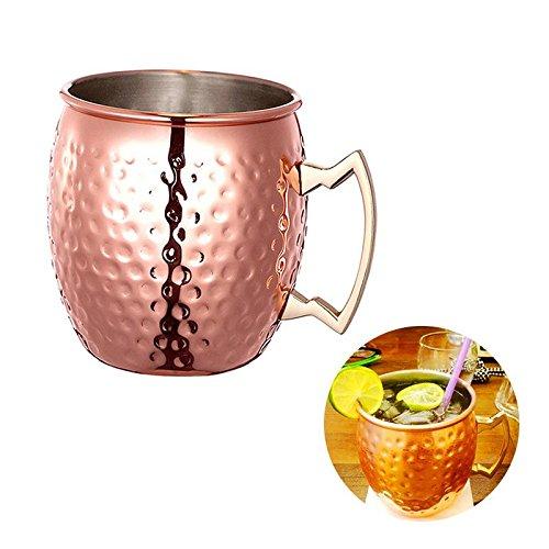 Großer Becher Eiskaffee (ZNYSTAR Neues Design Moscow Mule Kupfer Becher Trinkbecher Kupfer Tasse Mule Becher (530ml Roségold))