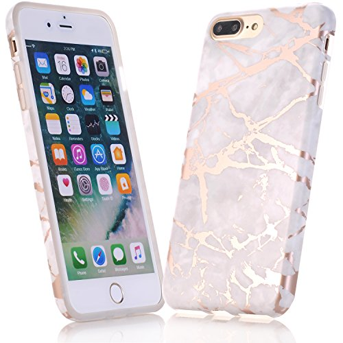 JIAXIUFEN Coque iPhone 6, Coque iPhone 6S, Silicone TPU Étui Housse Souple Antichoc Protecteur Cover Case - Shiny Rose Gold Gray Marbre Désign