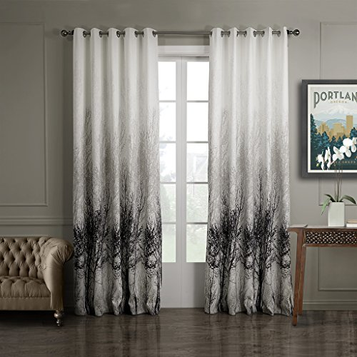 grey curtains for bedroom. GWELL Tree Print Elegant Eyelet Ring Top Curtains for Bedroom Living Room  with Crystalline Coating Cream Grey 145x213cm 57x84 Width x Drop Amazon co uk