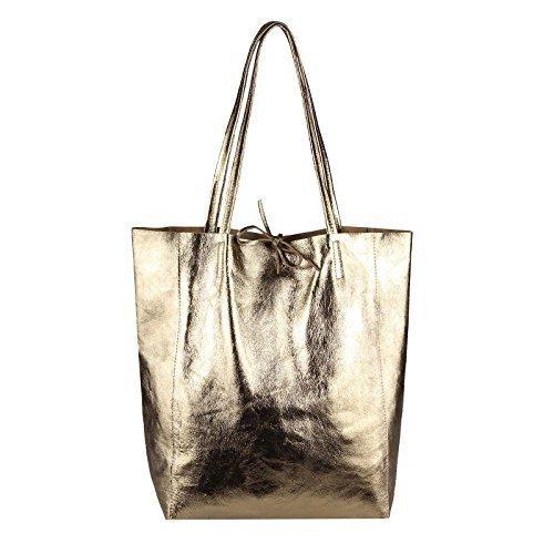 OBC Made in Italy DAMEN LEDER TASACHE DIN-A4 Shopper Schultertasche Henkeltasche Tote Bag Metallic Handtasche Umhängetasche Beuteltasche (Schwarz 36x40x12 cm) Champagne-Metallic