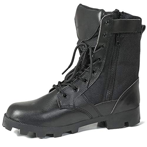 Boot-top-handtasche (cy Männer Leder Armee Militär Desert Boots Outdoor Training Schutz Kampfschuhe Hohe Tops Seitlichem Reißverschluss Sicherheit Patrol Taktische Stiefel,Black-42)