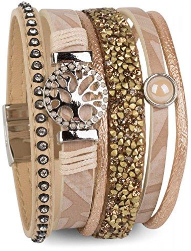 styleBREAKER Armband mit Lebensbaum Amulett, Perle, Strasssteine, Glaskristalle, Magnetverschluss, Damen 05040042, Farbe:Hellbraun (Denim Frieden)
