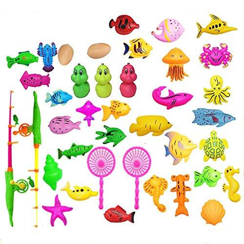 Purebesi Magnetisches Fischenspielzeug Fischen Spielzeug Baby Bad Spielzeug wasserdichte sich hin und herbewegende Kinder Angelset Kinderspielzeug