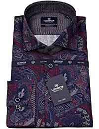 Lerros Herren Hemd Modern Fit Haikragen Print lila / blau 46O1825 351